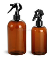 Amber Hair Oil Conditioner Pet Bottles with Black Mini Trigger Sprayers