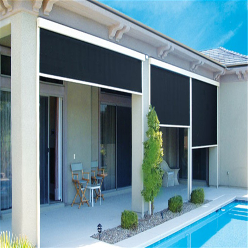 Outdoor Blackout Balcony Zip Track System Roller Blinds