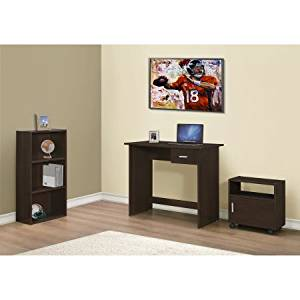 3-piece Wooden Computer Desk Set with Bookcase and Cart, Office Desk with Self, Desk with Bookcase and Drawer Cart, Office Furniture, Home and Office Furniture, + Expert Guide (Cappuccino)