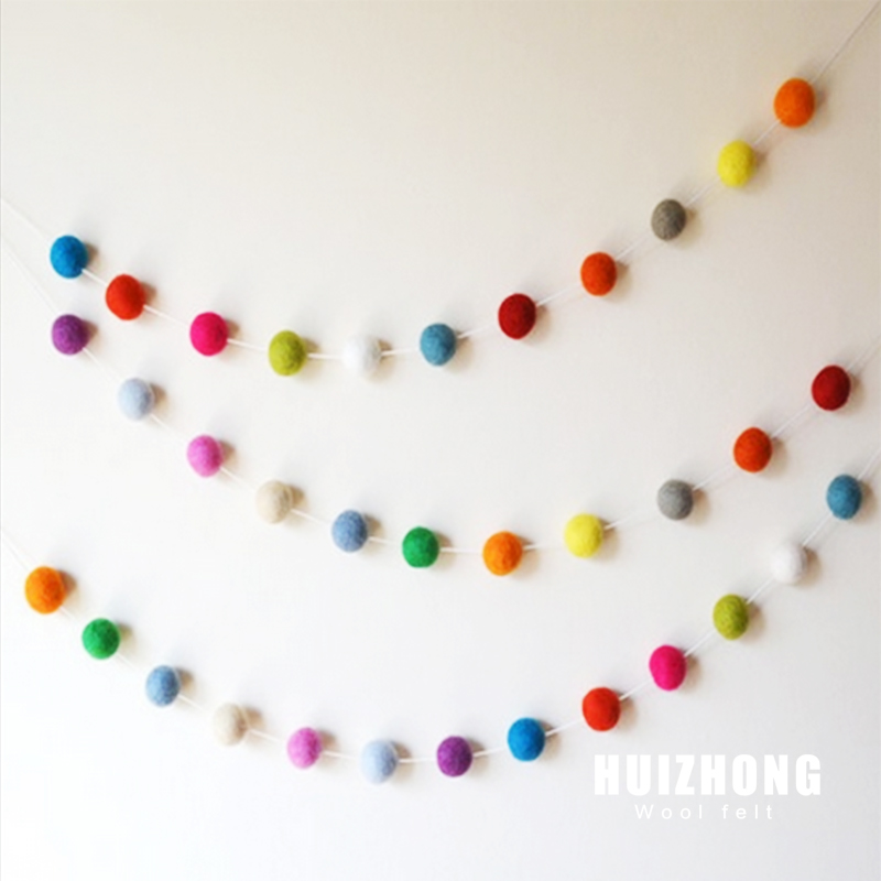 rainbow colour wool felt ball garland for Christmas tree decoration,Christmas Ornament Ball Garland,felted balls