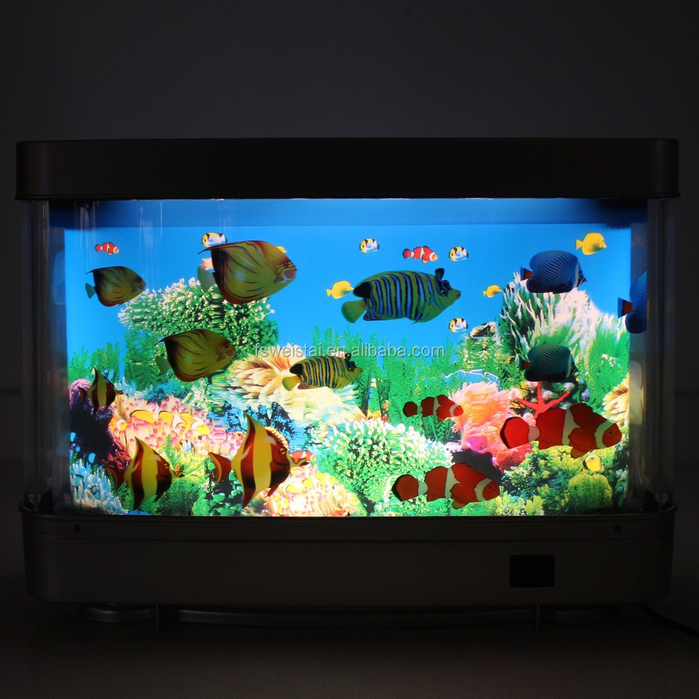 Fake Aquarium Tank Fish Moving Night Light For Kids Room Lamp ...
