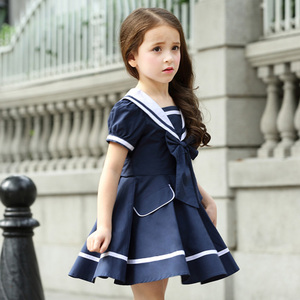 blues colors 100% cotton korean school girls uniform pictures