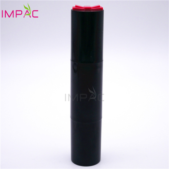 Double ended black round cosmetic packaging for foundation stick with brush
