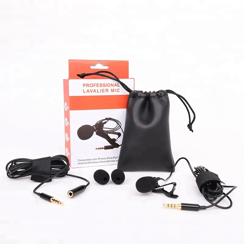 professional lavalier lapel microphone clip Microphone 3.5mm Jack Mini Wired Condenser Mic for Smartphones Laptop micro cravate, Black