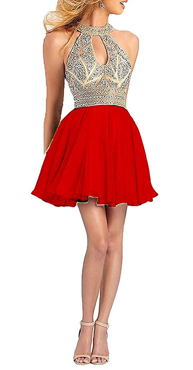 Get Quotations · Ladsen Women s Sweetheart Homecoming Cocktail Dress Puffy  Short Beading Prom Dresses For Juniors L179 Red US4 6ee4a4e2cb04