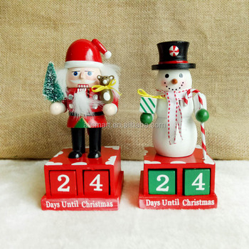 wholesale cheap indoor christmas decorations santa claus and snowman wooden advent calendar