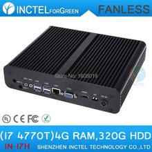 Mini desktop computer fanless pc i7 with Intel Quad Core i7 4770T 2.5Ghz CPU HDMI VGA DP Three display 2G RAM 320G HDD Linux