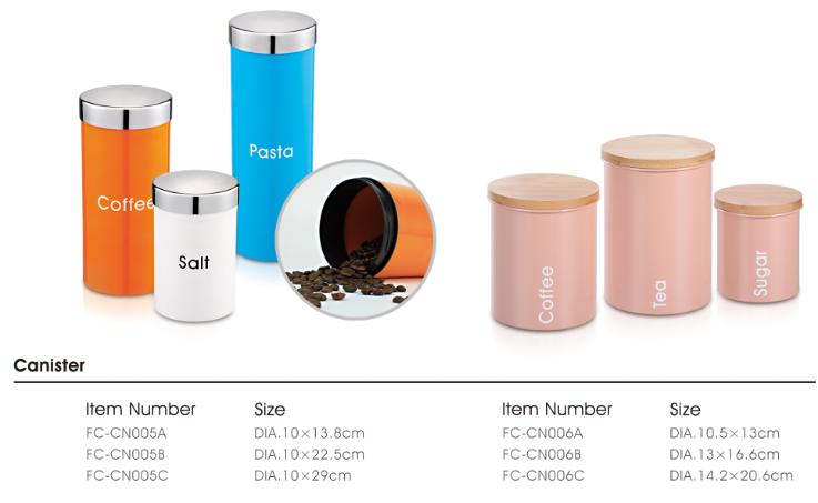 Moderner hellgrüner pulverbeschichteter Edelstahl Sugar Coffee Tea luftdichter Kanister mit klarem Schraubdeckel