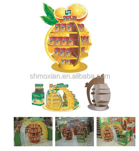 Custom design round corrugated cardboard stacked supermarket display rack