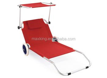 Alluminio spiaggia lettino con ruote spiaggia sedia con ruote