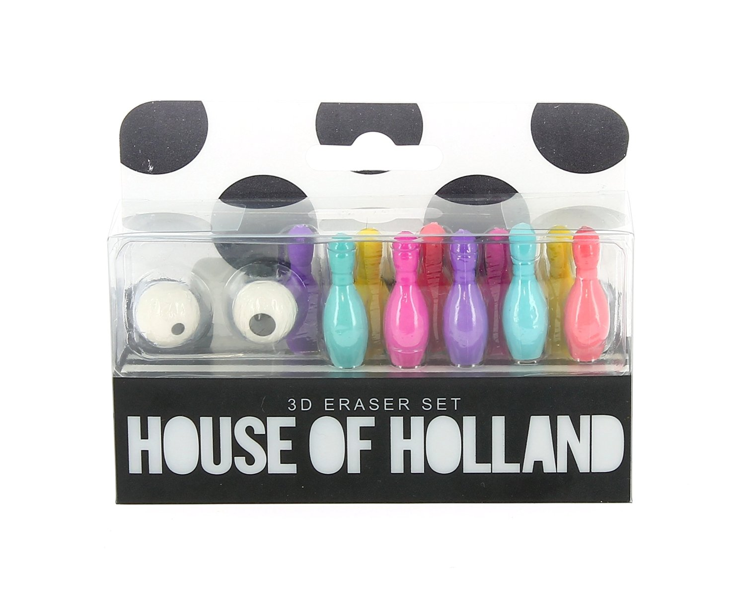 House of Holland ten pin and ball bowling eraser set