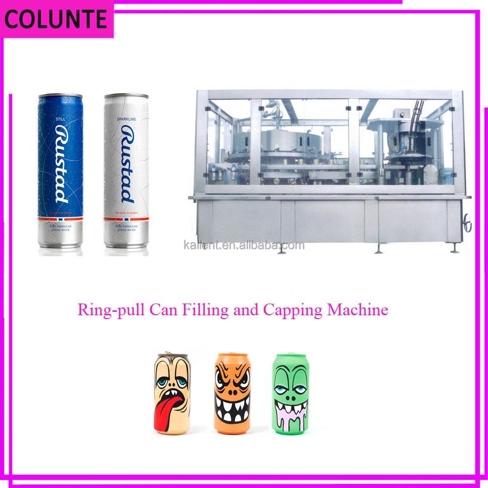 Colunte Ring pull Can filling and sealing machine, zip top Can filling Beer, Soda canning equipment