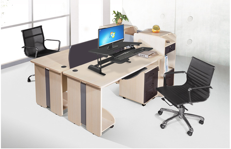 High Quality Black Office Electric Gas Spring Height Adjusted Desk Elevating Sit Stand Adjustable Workstation