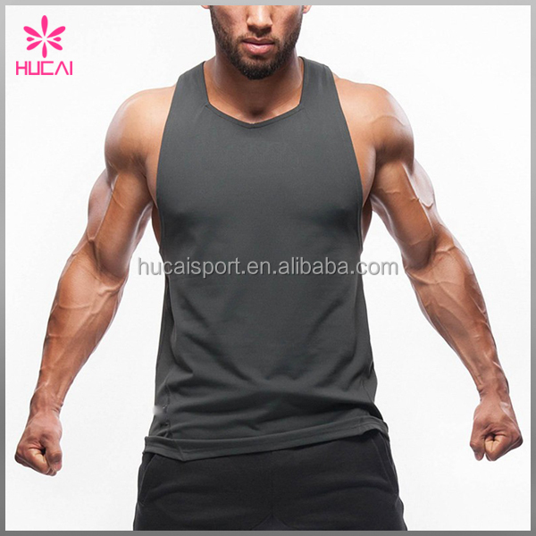 2017 wholesael plain crop compression gym tank tops men in bulk