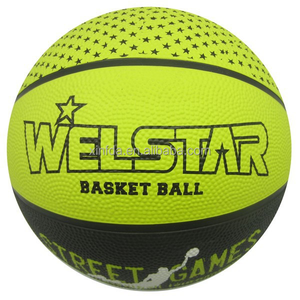 Size 7, 6 , 5 , 3 , 2 , 1 Full Size Rubber Basketball with Bright Colour