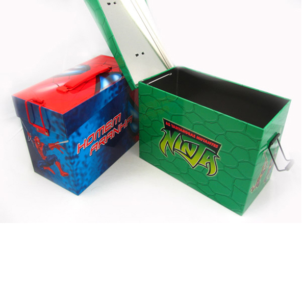 Christmas gift Lunch tin Box with plastic handle