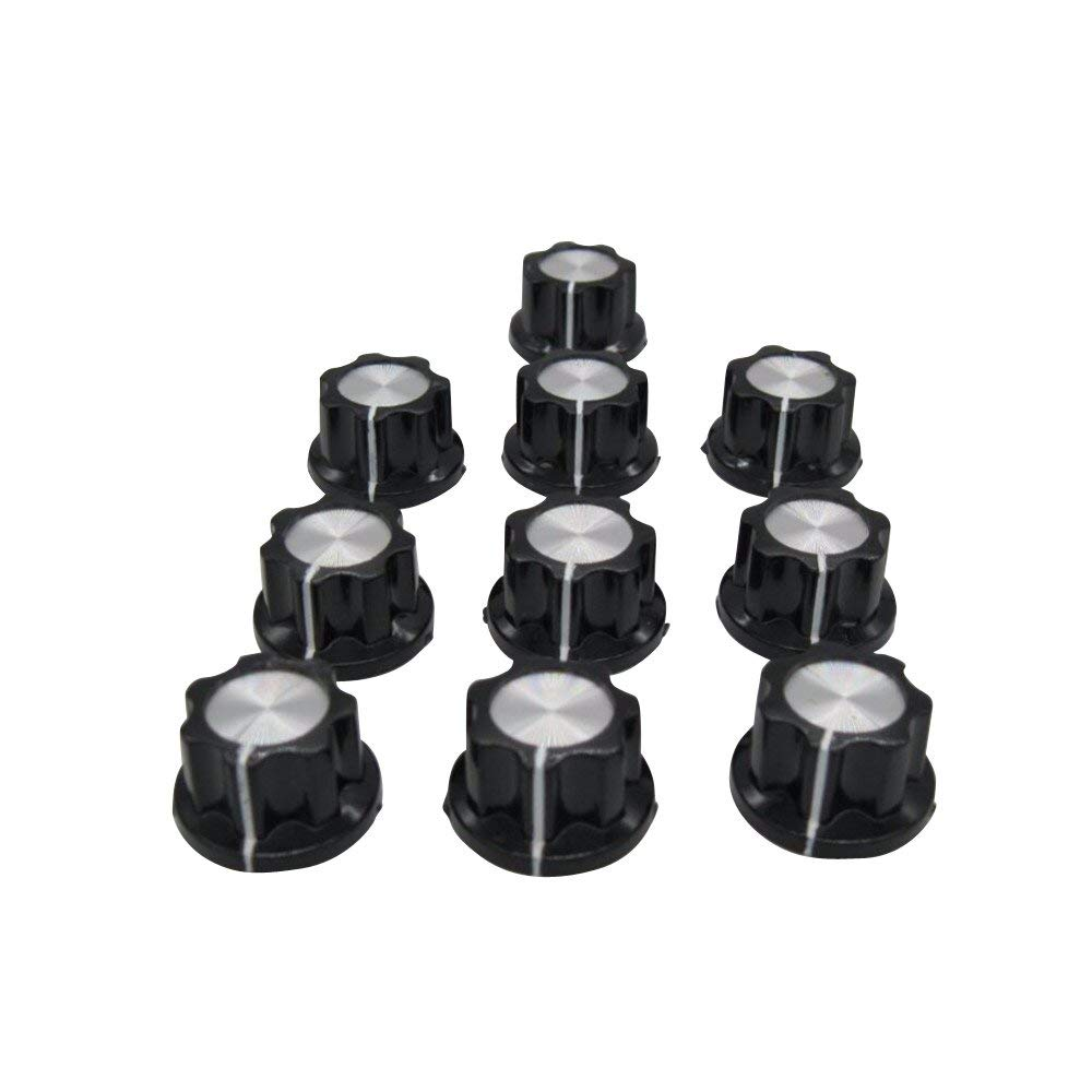 Taiss / 10pcs Silver Tone Top Rotary Knobs for 6 mm Dia. Shaft, Potentiometer Switch Knob Top Diameter: 19mm Black A02-6mm