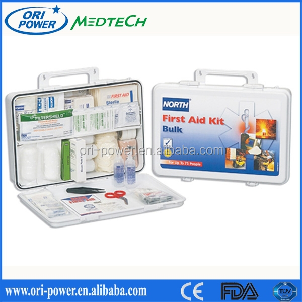 2014 hotsale CE FDA approved oem promotional emergency medical custom items in first aid box
