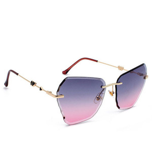 ALB03 Rimless Heart Diffraction Sun Glasses Popular In Guangdong Buyers Irregular Diamond Cut Lens