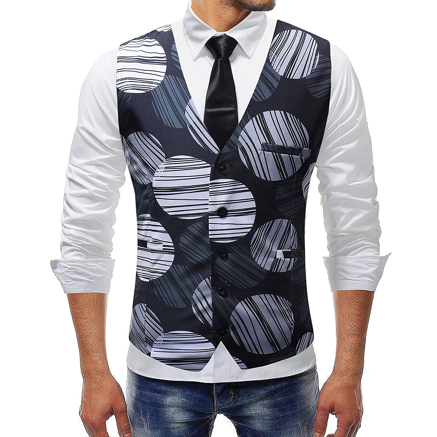 Fubotevic Mens Formal Slim Fit Casual Business Print Long Sleeve Button Up Dress Shirts