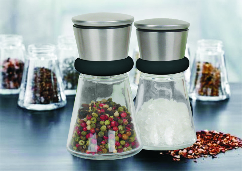 Glass  multi- color salt and pepper mill set