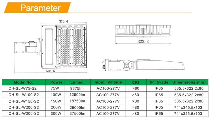 Top sales outdoor LED street light ETL/DLC 75W 100W 150W 200W LED shoebox light