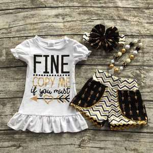 baby girls summer outfits girls boutique clothing children fine capy me if u must outfits girls arrown clothing with accessoreis