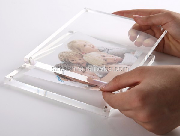 Factory direct sell 5x7 square clear acrylic magnetic photo & picture frame