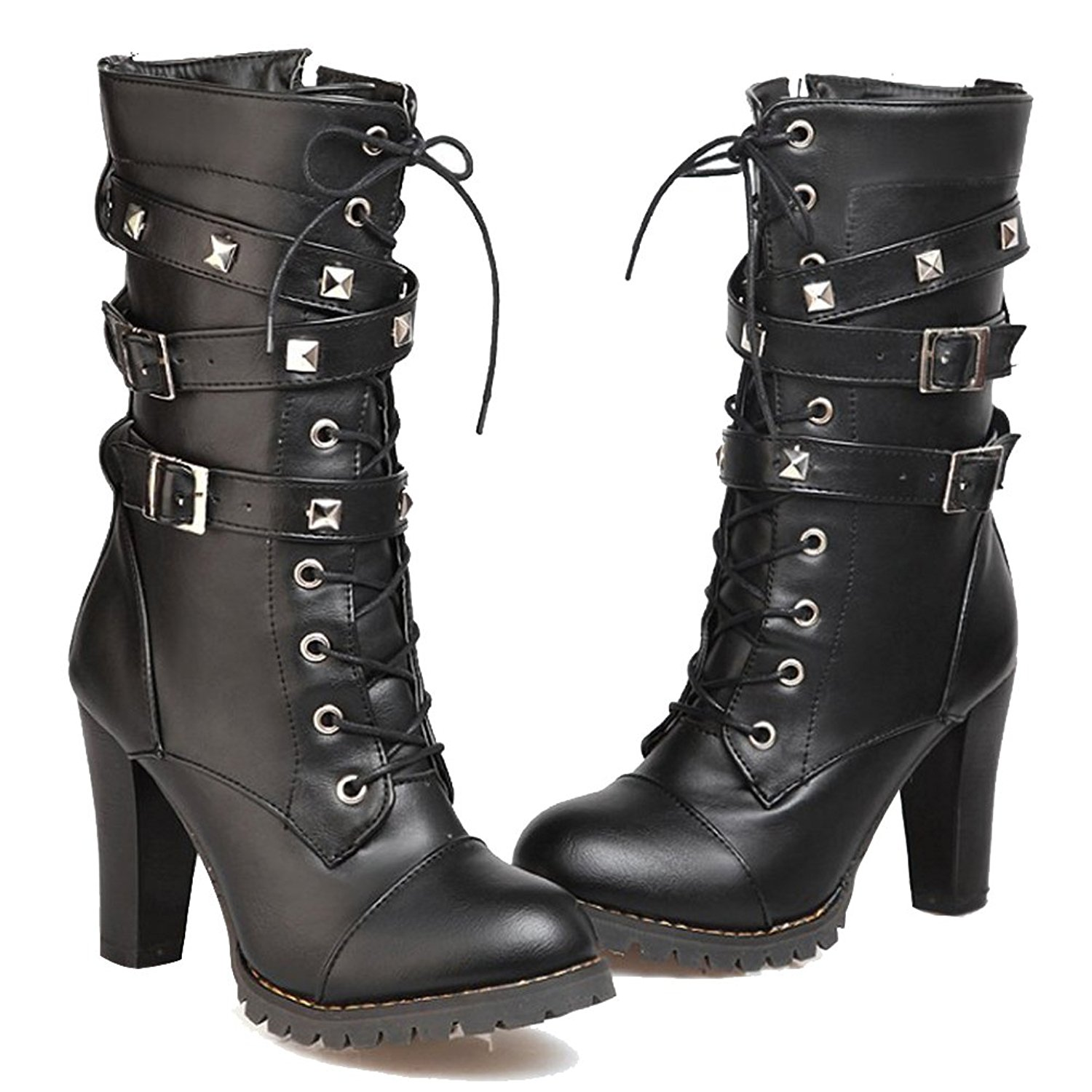 07b33098b333 Get Quotations · HiEase Women s Vintage Rivets Zip Western Boots Lace up  Fashion Biker Boots Buckle Party Dress Calf