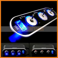 WF-0306 USB Car Socket with Switch 3 Way Car Cigarette Lighter