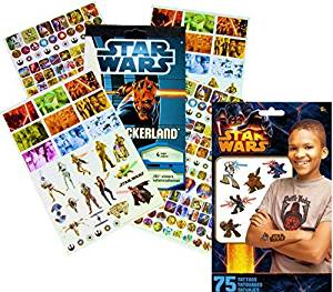 Disney Star Wars Stickers & Tattoos Party Favor Pack (275 Stickers & 75 Temporary Tattoos)