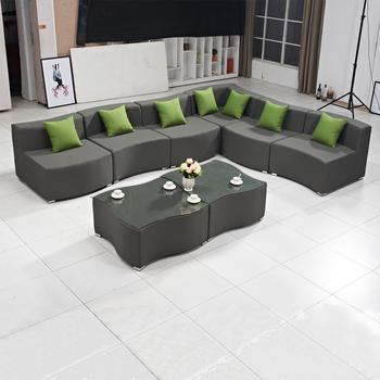 Palma Indoor Outdoor Furniture Wavy Grey Waterproof Modular L Shaped Fabric Sofa