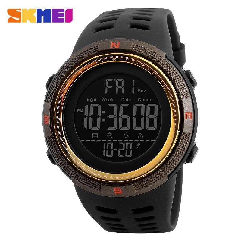 SKMEI 1251 Men Sports Watches Countdown Double Time Watch Alarm Chrono Digital Wristwatches 50M Waterproof Relogio Masculino