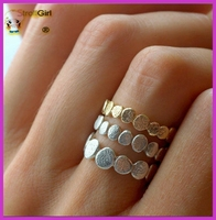 Fashion 925 stelring silver pebble ring with 14K gold wedding ring