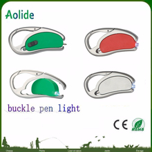 carabiner spin pen light Latest popular custom logo advertising plastic revolve LED light pen