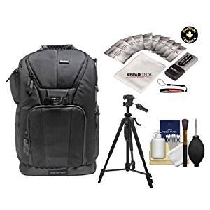 "Vivitar Series One Digital SLR Camera/Laptop Sling Backpack - Medium (Black) Holds Most 15.4'"" Laptops with 58"" Tripod + Cleaning Kits for Canon, Nikon, Olympus, Panasonic, Fuji & Sony Alpha Cameras"