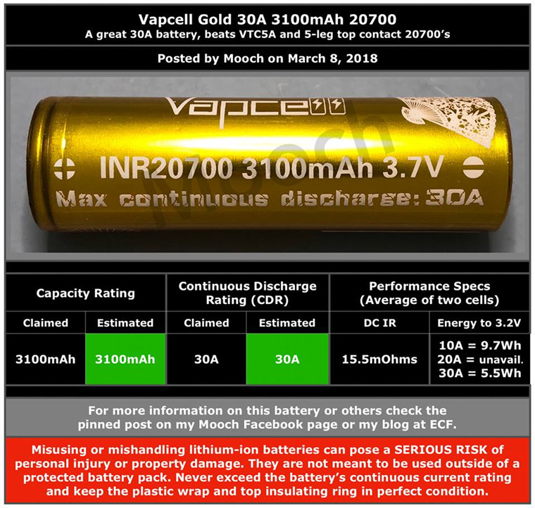 Gold 3100mAh 30A Vapcell 20700 batteries rechargeable lithium battery for 20700 mod Mooch tested