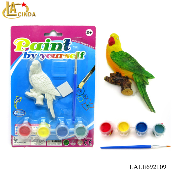 Kids Hand Painting Game Include 4 Color And Brush,Resin Animal Model ...