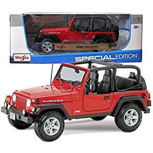 Maisto Year 2014 Special Edition Series 1:18 Scale Die Cast Car Set - Red Color Sports Utility Vehicle JEEP WRANGLER RUBICON (SUV Dimension: 8' x 3-1/2' x 3-1/2')