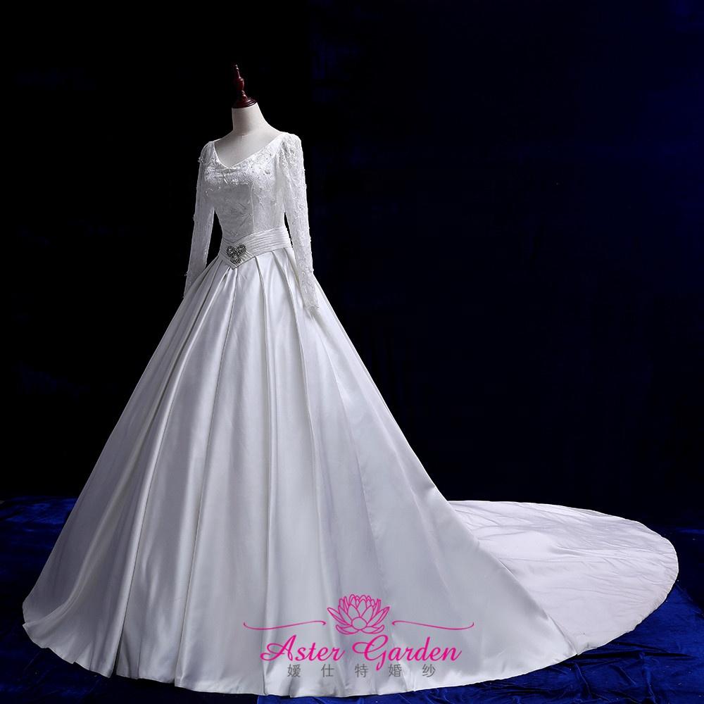Satin Wedding Dresses Long Sleeves 2019 Beads Ball Gown for Wedding Vestido de Novia robe de mariee long tail bridal gowns s249 фото