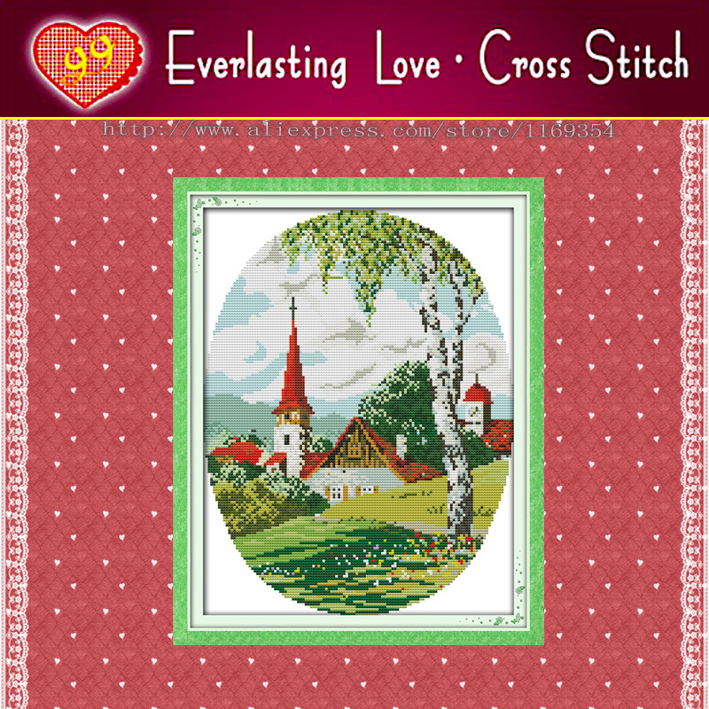 Country scenes spring home decor paintings 11CT pattern print on fabric embroidery kits DMC Chinese Cross Stitch needlework Sets