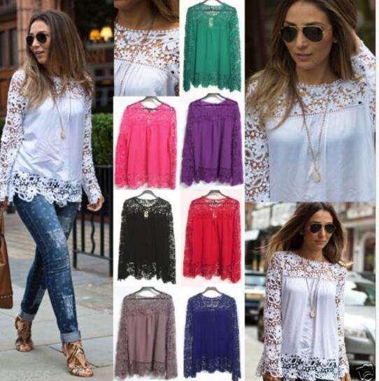 Walson Fashion Vrouwen Sheer Mouwen Borduren Lace Haak Tee Chiffon Shirt Top Blouse