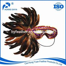 CM-347 Mardigras Masquerade Party Fashion Show Customized Cock Feather Mask
