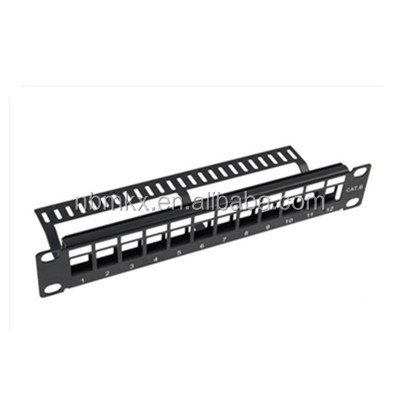 Blank Empty 12 Port Patch Panel with cable management