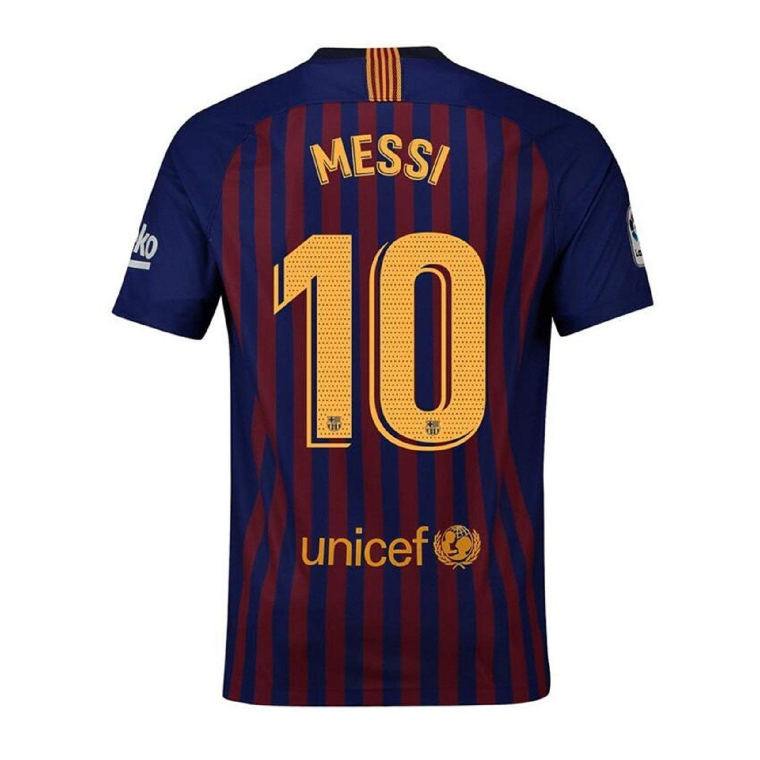c8a2532d2 Get Quotations · Fiueker Men s Messi Jerseys Barcelona  10 Soccer Jersey  2018 2019 Home Shirt