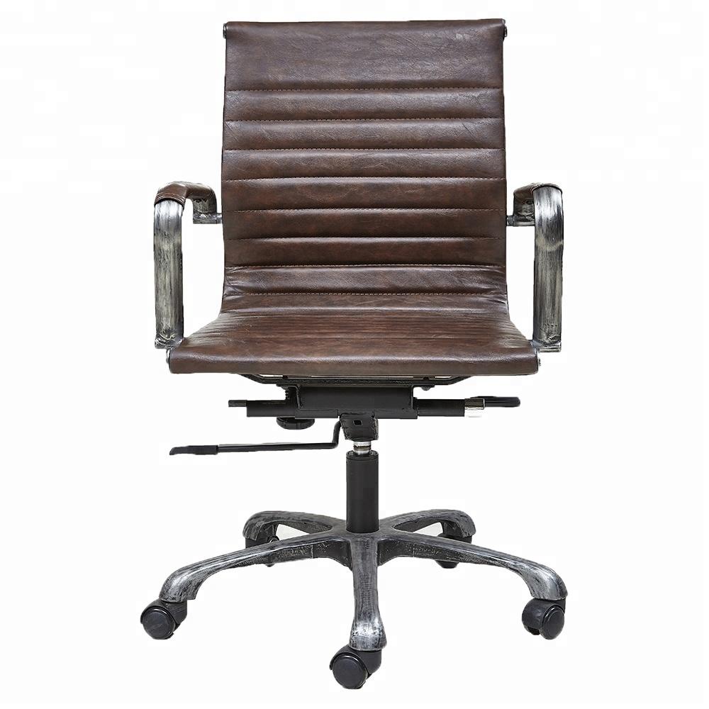 Промышленный Железный базовый винтажный кожаный офисный стул эргономичный