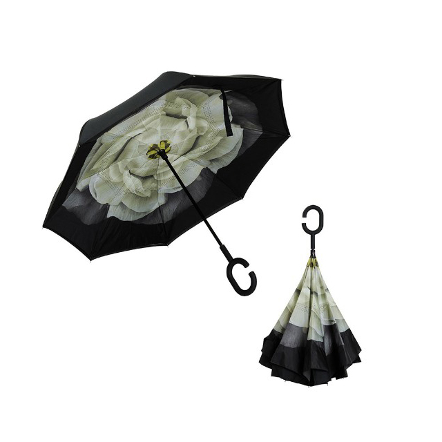 Double Layer Inverted Cars Reverse Umbrella with C-Shaped Handle