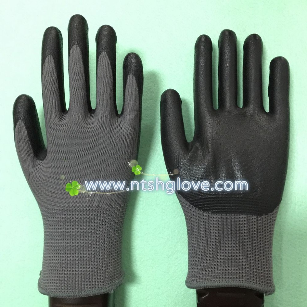 Nylon Liner Micro foam nitrile glove Nitrile Safety Gloves good grip (factory price)