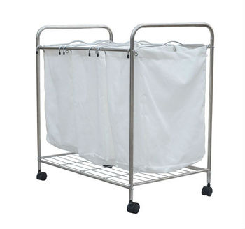 hotel laundry cart with cleaning tool basket on wheels