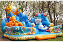 Cheap price commercial outdoor inflatable bouncy castle with water slide for sale